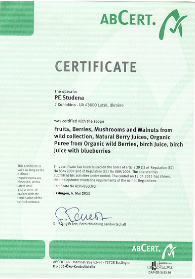 NOP (National Organic Program) Certificates. Solex Agro.